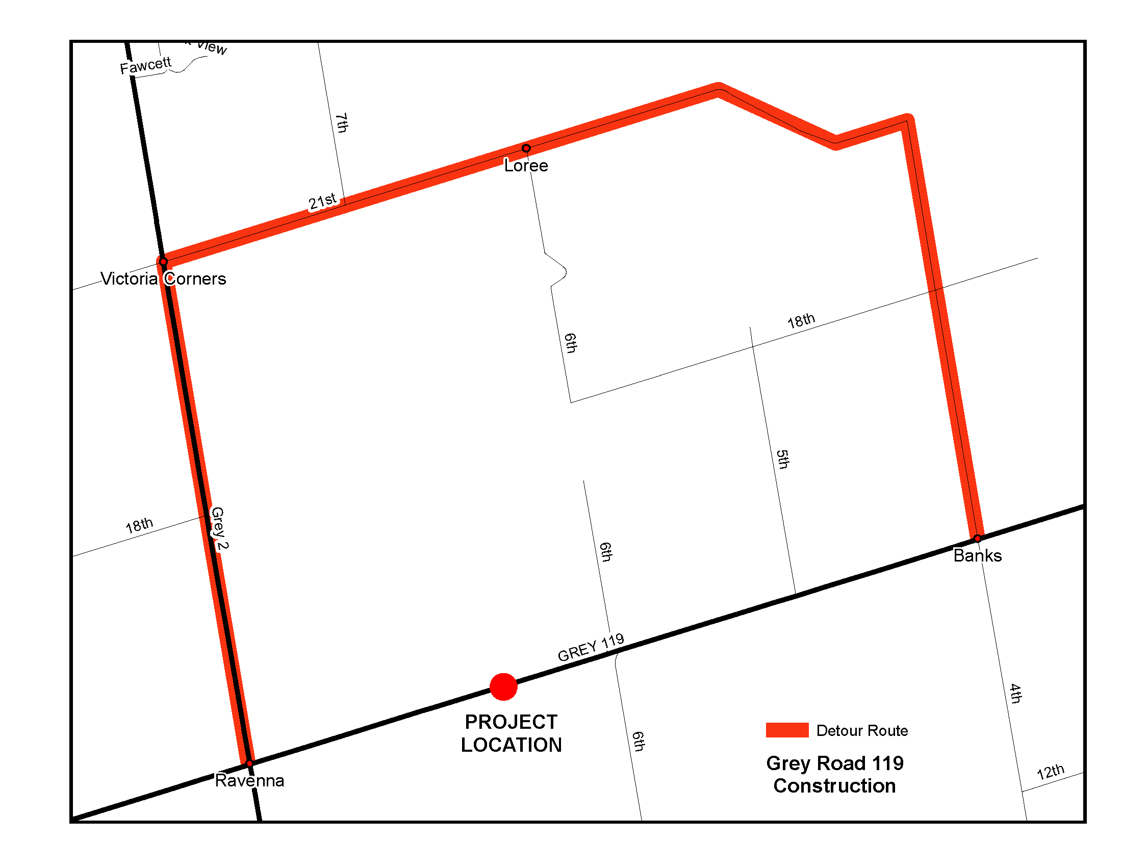 Map of construction and the detour route.