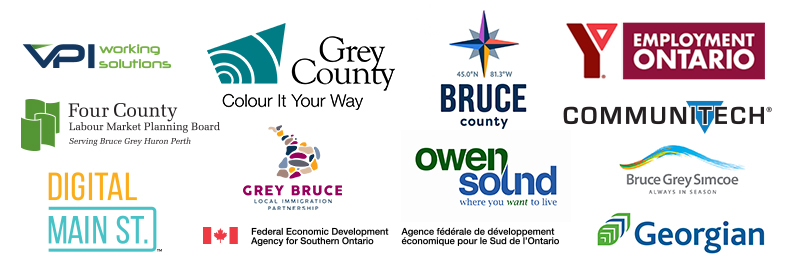 Collage of sponsors including communitech, employment ontario, four county planning board, grey county, bruce county, georgian college and more