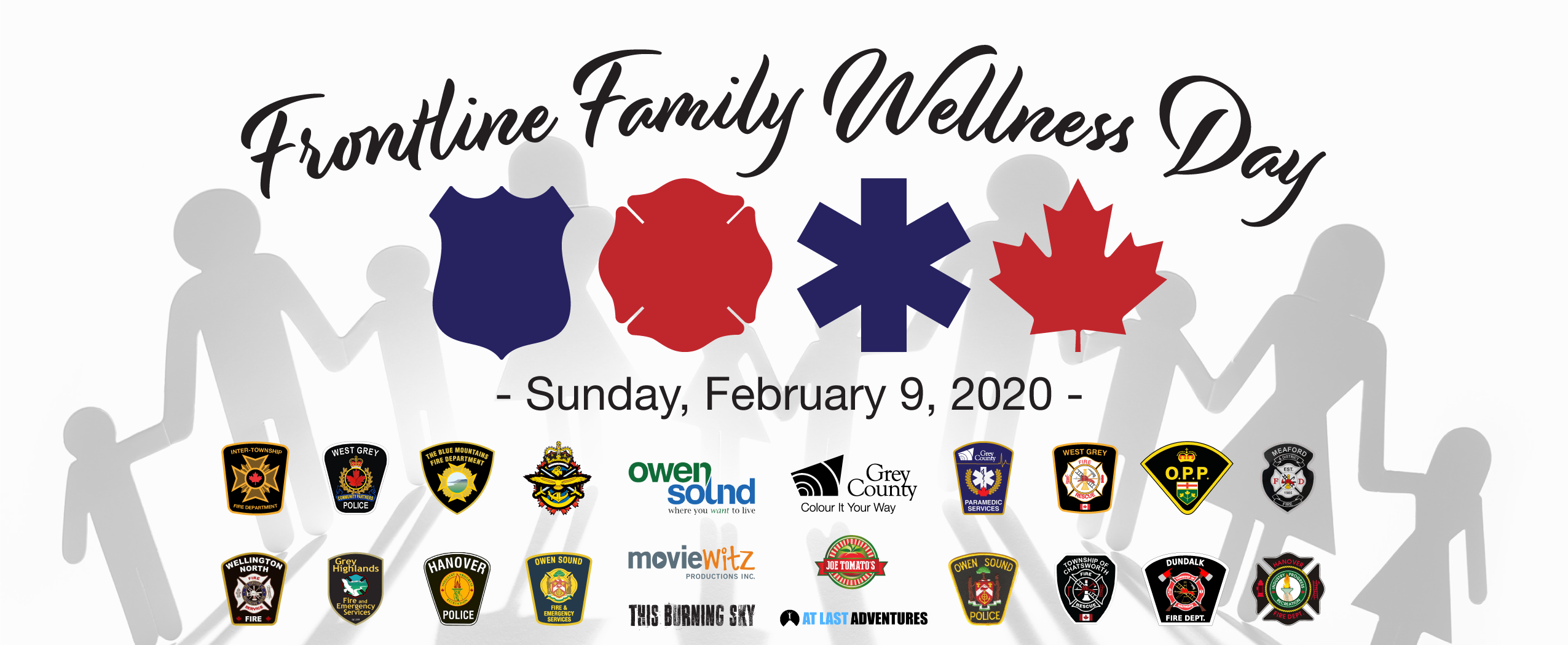 Frontline Family Wellness Day poster with all the partner logos