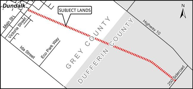 map outlining where the CP rail Trail will be temporarily closed near dundalk.