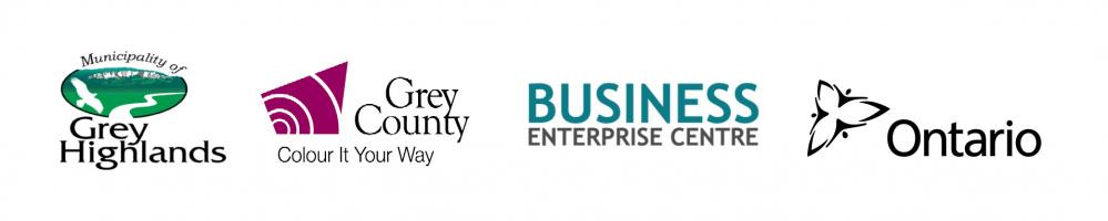 Logos for Grey Highlands, Grey County, the Business Enterprise Centre and the Province of Ontario