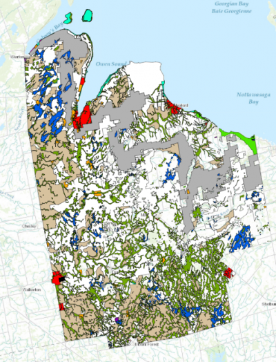 Map of Grey County marked up with colours representing different land use designations.