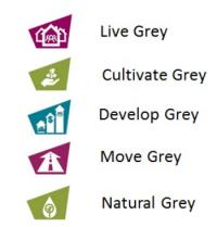 Recolour Grey Themese: Live Grey, cultivate grey, develop grey, move grey and natural grey.