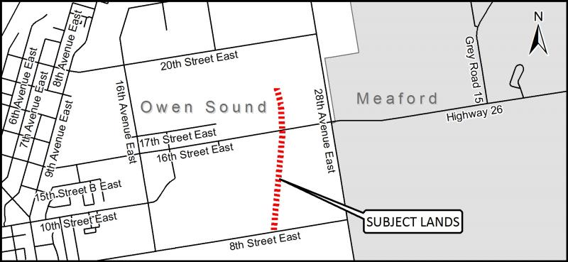 Map of owen Sound showing where the CP Rail Trail will be closed for maintenance