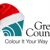 Grey County logo with a Santa hat