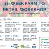 Poster listing dates for the 11-week Farm to Retail Workshop