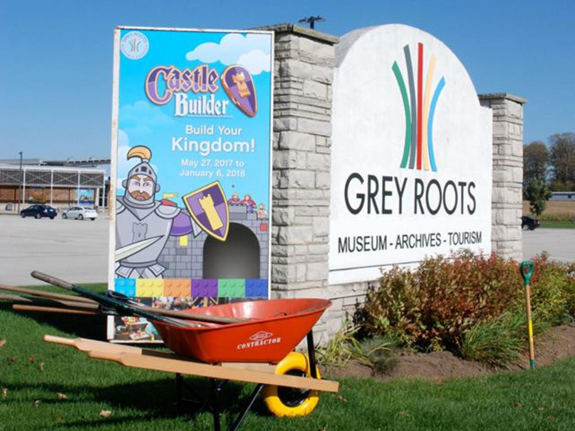 The large sign in front of Grey Roots Museum and Archives
