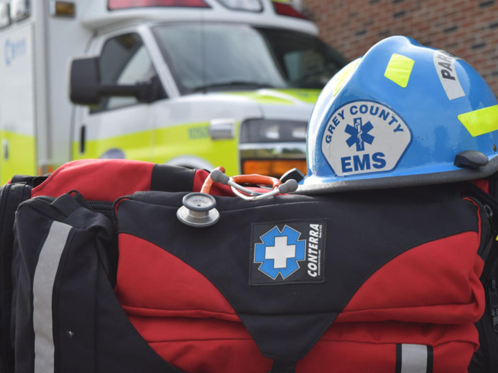 Paramedic equipment in front of an ambulance.