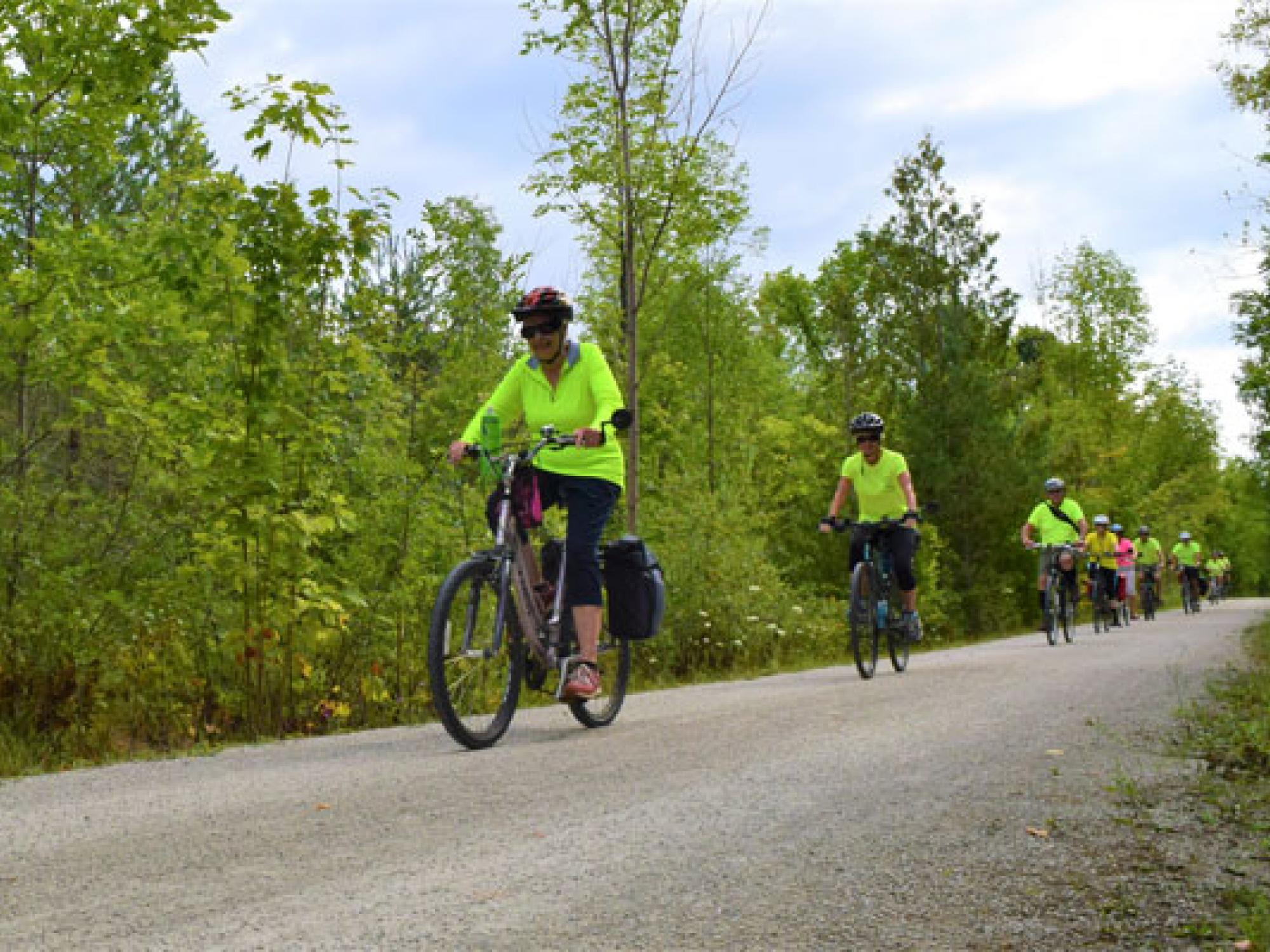 Cyclists on a trail