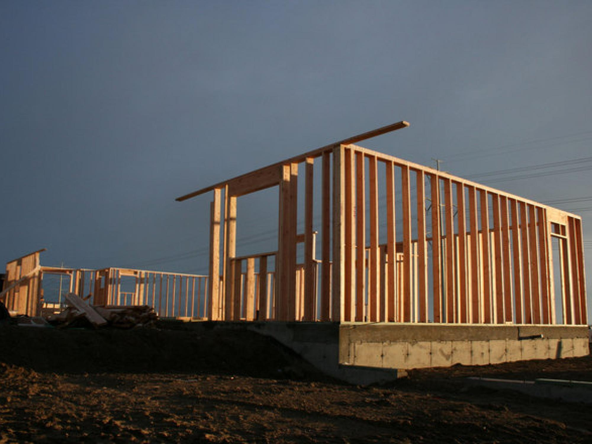 Frame of a home being constructed