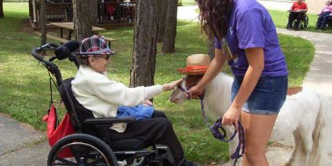 A resident in a wheel chair pets a miniature horse that is wearing a sun hat.