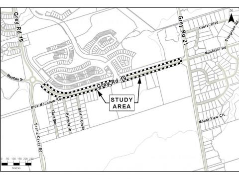 Study area map of Grey Road 19 EA