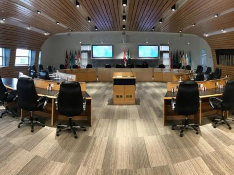 Panoramic shot of the new Grey County Council Chamber