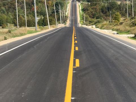 Another view of the newly resurfaced grey road 119