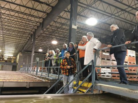 The tour group inside Bay Growers