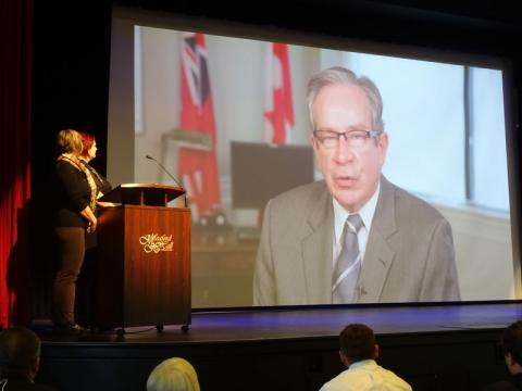 Minister Jeff Leal brings video greetings from the Province.