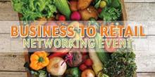 Business to retail networking event food poster of a table full of vegetables.
