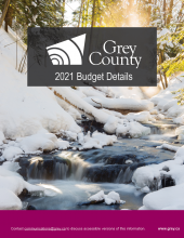 Cover page of the 2021 budget showing a gentle stream in the snowy forest.