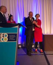 Deputy Warden Alan Barfoot and Local Food Economic Development Officer Philly Markowitz accept an Edco Award