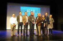 Apps for Ag Winners stand on stage with Grey County Warden Alan Barfoot and mentors from AgNition, Palmer Anderson, and Georgian College.