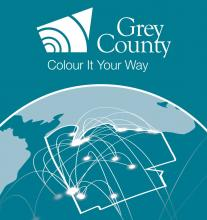 Graphic showing Grey County with connecting lines from community to community.