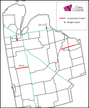 Map showing 2017 construction projects.