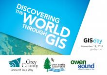 "Graphic reading ""Discovering the world through GIS. GIS Day 2018. November 14."