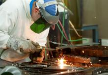 A student working in the welding shop.