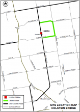 Map showing the planned detour for the Holstein bridge replacement