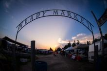 A photo of the famous Keady Market arch at sunrise
