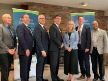 Warden Hicks, Minister of Health Merrilee Fullerton, MPP Bill Walker, Mayor Ian Boddy and other local long-term care delegates