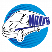 Logo int he shape of a van for Movin'GB.