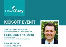 Event poster for New to Grey featuring a picture of Lionel Laroche.