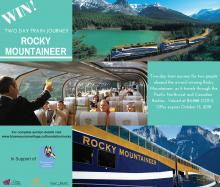 Postcard image showing various sights of the mountains and the Rocky Mountaineer train.  Text outlines auction details.