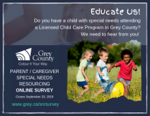 Promotional poster showing children playing. Text directs parents to the special needs resourcing survey.