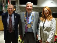 Warden Halliday stands with councillors Harley Greenfield and Gail Ardiel