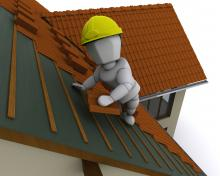 A graphical image of a cartoon person on a ladder wearing a hardhat and replacing a roof.
