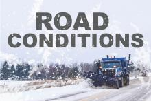 Image of a snow plow with text Road Conditions