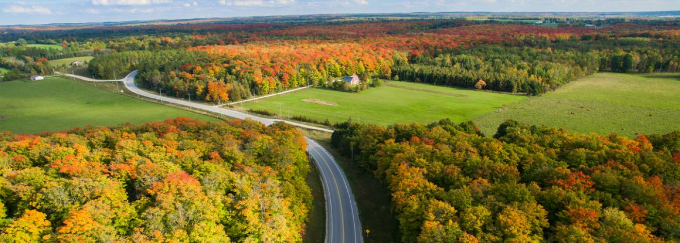 aerial photo of the beaver valley in the fall full of colours